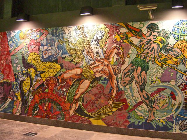 Cómic interior estación metro Lisboa