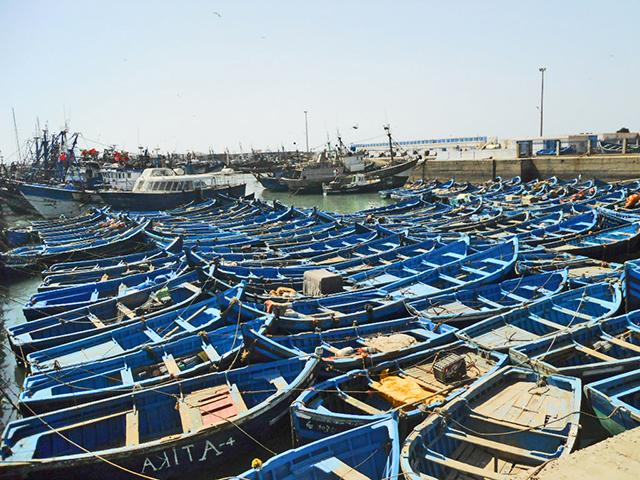 Barcas azules tradicionales pesca puerto viejo Esssaouira