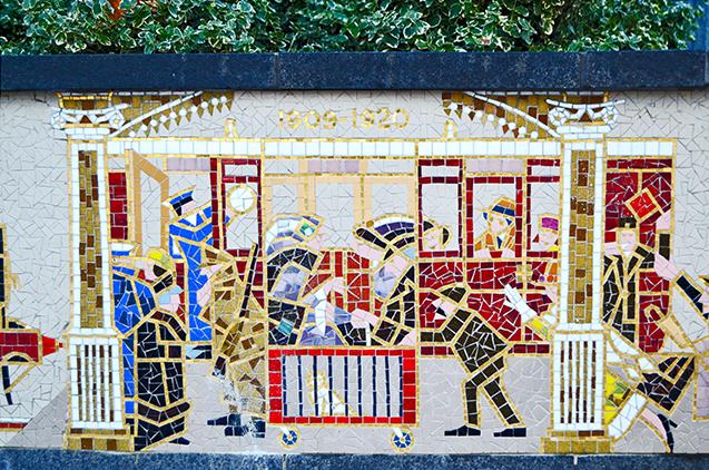 Mural azulejos transporte Estación tren Snow Hill Birmingham