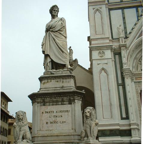Escultura Dante Alighieri piazza Santa Croce Florencia