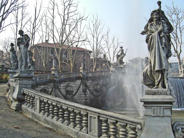 Esculturas fuente 4 estaciones parque valentino Turín