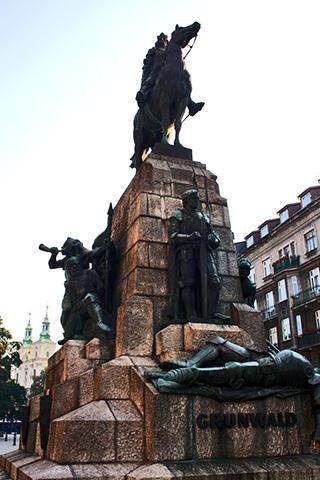 Escultura monumento Jan Mateijko centro histórico Cracovia