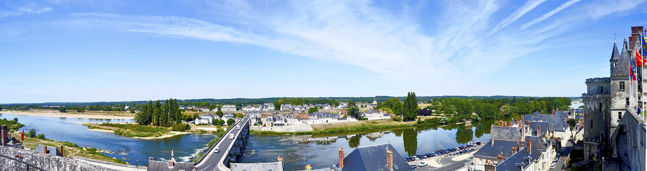 Panorámica desde castillo Amboise río Loira Francia