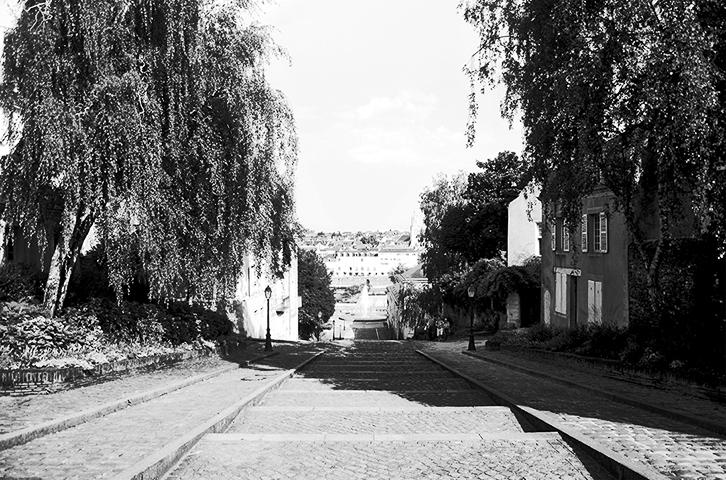 Escalinatas cercanas catedral St. Maurice Angers blanco negro