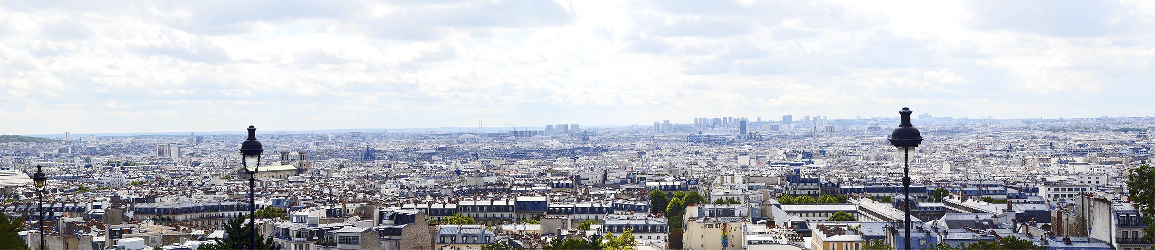 Panorámica edificios Basílica Sacre-Coeur Montmartre París