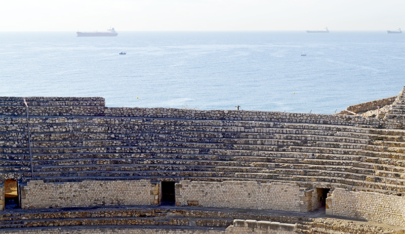 Gradas ruinas romanas Anfiteatro Tarragona