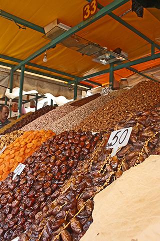 Puesto dátiles frutos secos Jemaa El Fna Marrakech