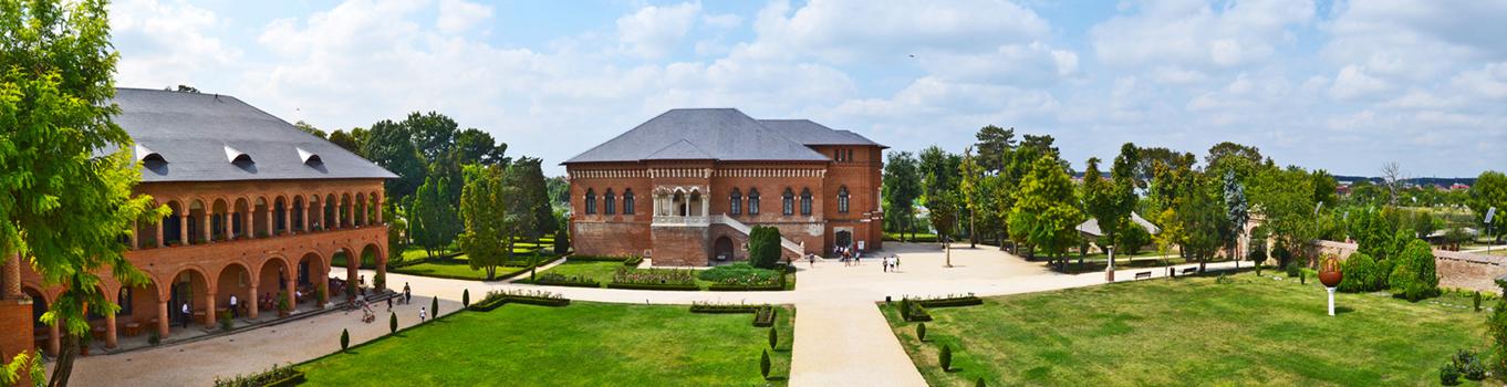 Vista panorámica Monasterio Mogosoaia jardines Rumanía