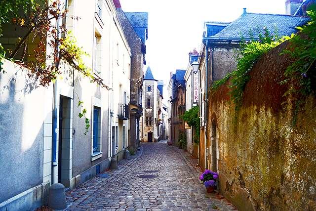 Vistas calle tradicional centro histórico Angers Valle Loira