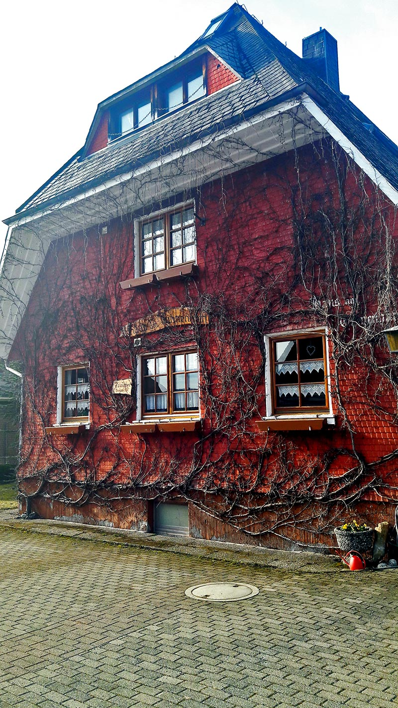 Fachada roja casa enredadera tejado madera calles lago Titisee Alemania